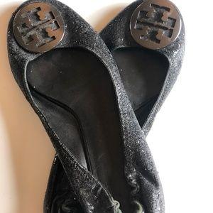 Black Sparkly Tori Burch Flats, Size 10
